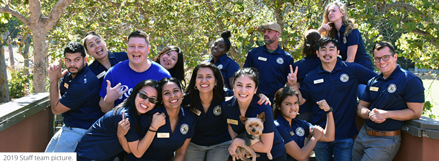 UC San Diego Student Veterans Resource Center - group photo of staff and student staff outside of the center
