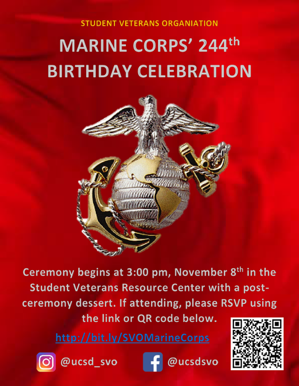 UCSD SVRC event flyer, Marine Corps Birthday Celebration, November 8, 2019 at 3pm
