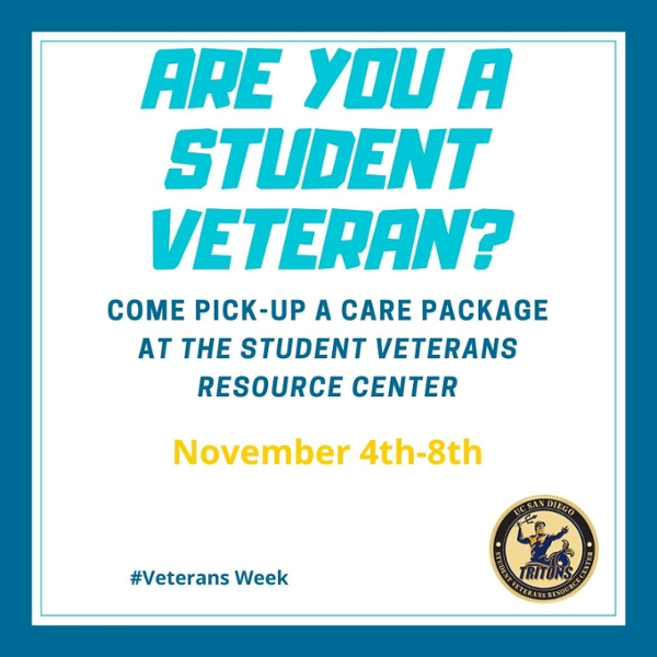 Pick up a care package at UC San Diego SVRC, November 4-8, 2019