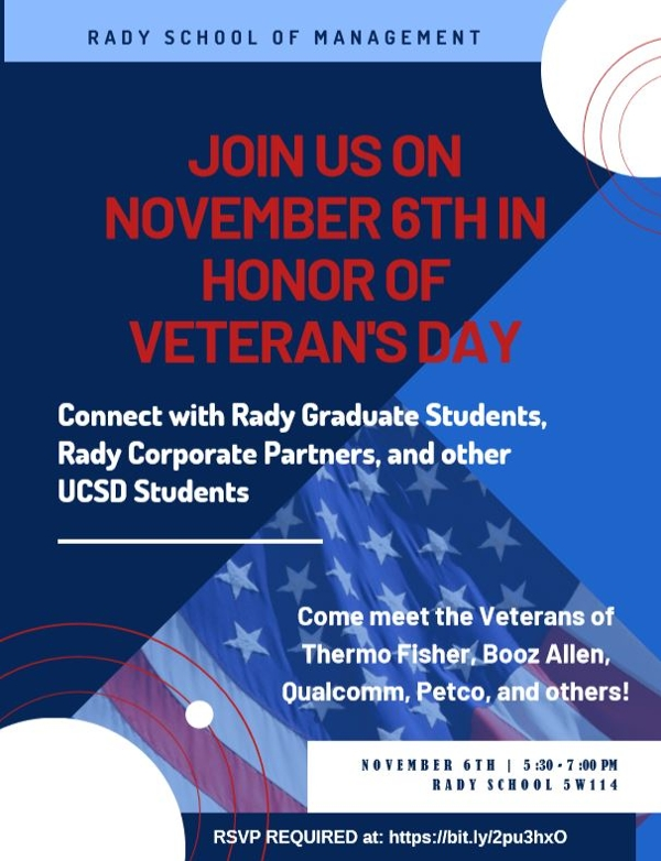 UCSD SVRC, RADY SCHOOL OF MANAGEMENT event, November 6, 2019, 5:30pm to 7pm