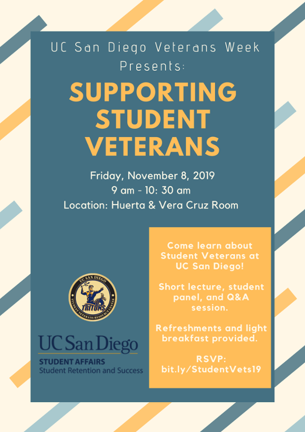 Lecture flyer, UCSD SVRC, Supporting Student Veterans, November 8, 2019, 9-10:30am